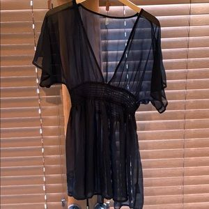 Sheer black beach cover-up